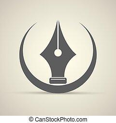 vector flat Fountain pen icon isolated
