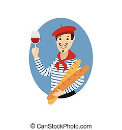 vector flat french young man with wine, baguette