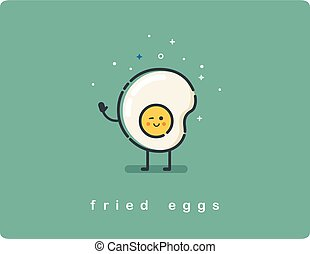 Vector flat fried egg character, breakfast food icon