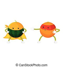 vector flat fruit characters in mask set