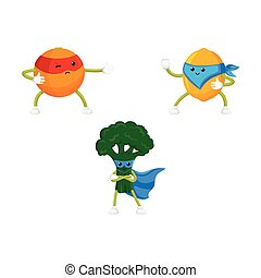 vector flat fruit characters in mask set - vector flat...