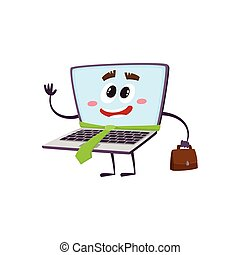 vector flat funny laptop character businessman