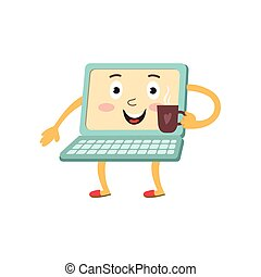 vector flat funny laptop character with coffee