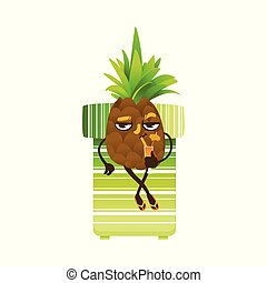 Vector flat funny pineapple fruit character party - Funny ...