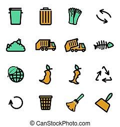 Vector flat garbage icons set
