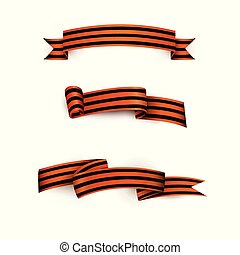 Vector flat george ribbon victory day icon set