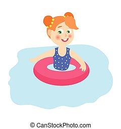 pool splash vector. Cute Cow Swim In Inflatable Ring Milk Splash - Vector Cartoon Illustration Pool