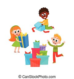 vector flat girl and boys with present box
