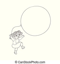 Vector flat girl child jumping with air balloons