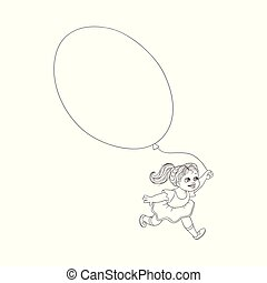 Vector flat girl child running with air balloons