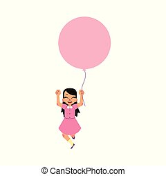 Vector flat girl child walking with air balloons