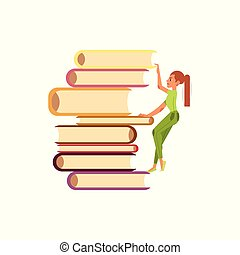 Vector flat girl climbing books pile
