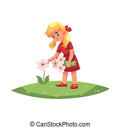 Vector flat girl collecting field flowers