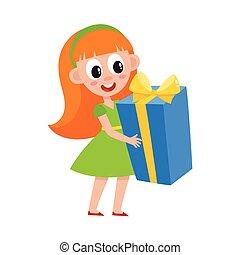 vector flat girl holding big present box - vector flat kids...
