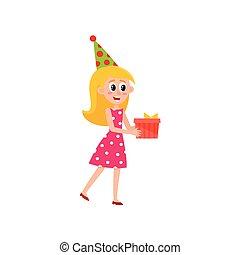 vector flat girl holding present box