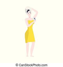 Vector flat girl in bathrobe armpit hair removal