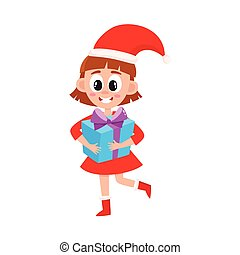vector flat girl in christmas hat with present box