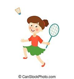 vector flat girl playing badminton shuttlecock - vector flat...