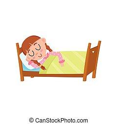 vector flat girl sleeping in her bed under blanket