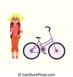 vector flat girl tourist smiling, bicycle
