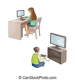 vector flat girl using pc, boy plays in video game - vector...