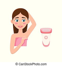 vector flat girl with depilated armpit and shave