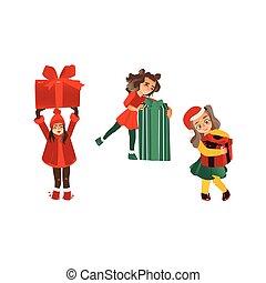 vector flat girls holding present box