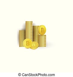 Vector flat golden coins stack, pile with bitcoin