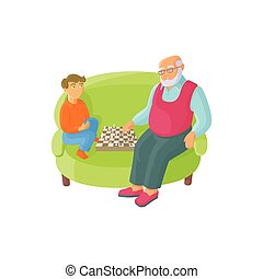 vector flat grandfather and grandson playing chess