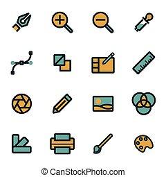 Vector flat graphic design icons set