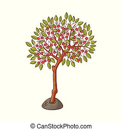 Vector flat green abstract tree with foliage icon