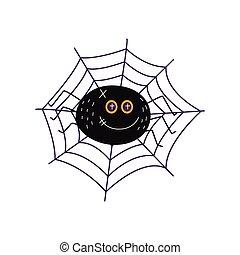 vector flat halloween black spider in net