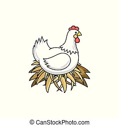 vector flat hand drawn chicken in nest isolated