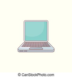 Vector flat hand drawn laptop computer icon.