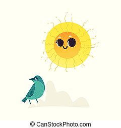 Vector flat hand drawn sun icon.