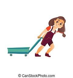 Vector Flat happy girl pulling empty cart