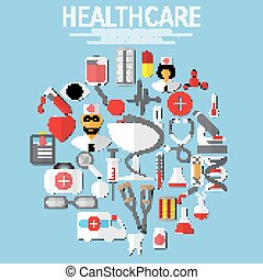 Vector flat health care and medical research background.