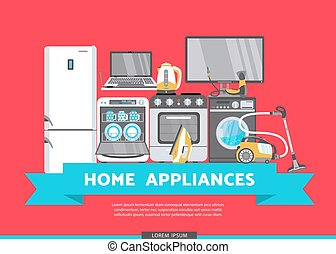 vector flat home appliance sale icon set - vector home...
