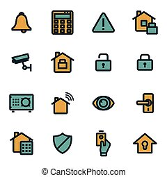 Vector flat home security icons set