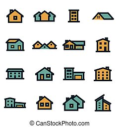 Vector flat house icons set