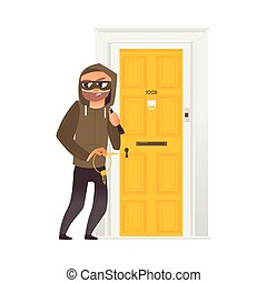 vector cartoon thief burglar housebreaker in mask, hood, breaking and entering in a victim's house holding stolen keys in hand. Isolated illustration on a white background.