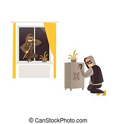 vector cartoon thief burglar housebreaker in mask, hood, breaking and entering in a victim's house through window, another One opening safe box. Isolated illustration on a white background.