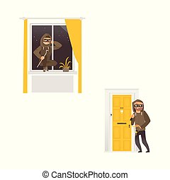 vector flat housebreaker thiefs set