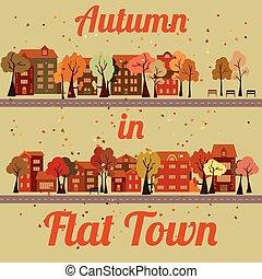 Vector flat houses - Flat cartoon houses, road, falling...