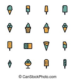 Vector flat ice cream icons set