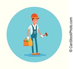Vector flat icon a carpenter