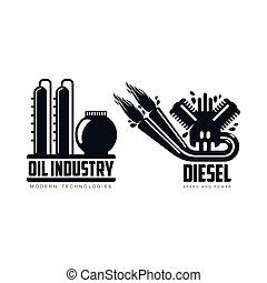 vector flat icon gasoline engine, oil refinery set