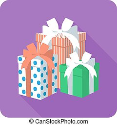 Vector flat icon gift box with ribbon bow