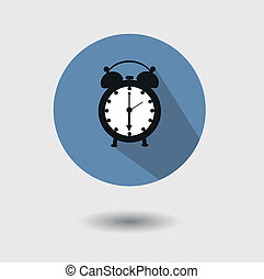 flat icon of an old alarm clock - Vector flat icon of an old...