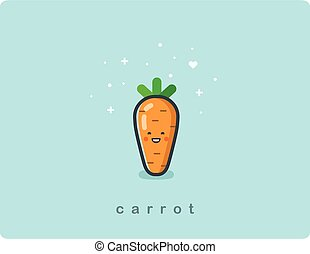 Vector flat icon of carrot, cute vegetable cartoon character, baby meal